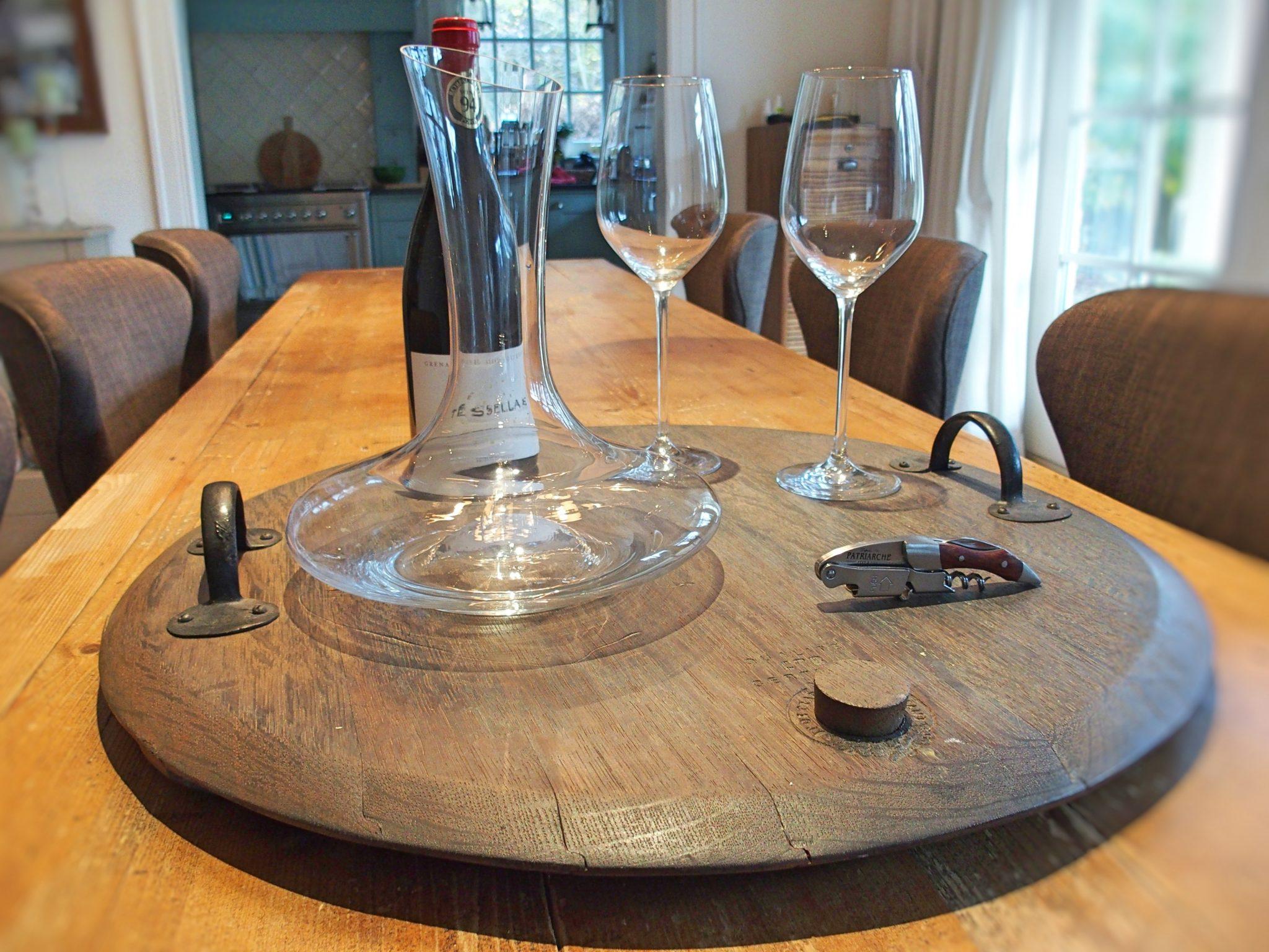 Dienblad van deksel van wijnvat